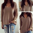 Womens Casual Jumper V Neck Long Sleeve Pullover Tops Knitted Sweater Winter NEW