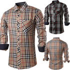Fashion Men's Casual Shirts Plaids Check Slim Fitlong Sleeve Dress Tee Tops Hot