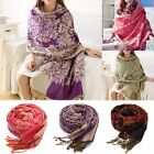 Women Lady Cotton Jacquard Warm Winter Scarf Pashmina Shawl Wraps Stoles Gift