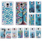 3D Print Pattern Fulfill Blue Bling Glitter Quicksand Clear Hard Case For Phones