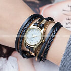 Weave Wrap Women Ladies Girl Goden Case Leather Bracelet Quartz Wrist Watch Gift