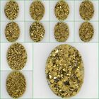30mm Metallic gold coated drusy druzy crystly agate oval cab cabochon
