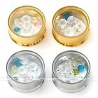 2X Crystal Steel Double Flare Screwed Ear Tunnel Plugs Expander Stretcher Gauges