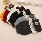 Women Crochet Kintted Knit Lace Fingerless Mittens Gloves Thick Winter Gift Warm