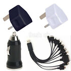 Wall Mains+Car Charger+10 In 1 USB Mobile Phone Multi Cable- iPhone ipad Sumsung
