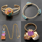 Titanium Druzy Drusy Quartz Agate Geode Gold Pendants Cuff Bangle Ring Beads