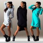 Women Casual Loose Long Hoodie Sweatshirt Dress Split Pullover Pockets Sweater