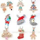 Crystal Xmas Tree Bell Santa Snowman Stocking Bead Pendant Fit Necklace Making