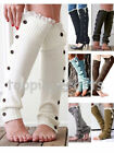 Women Girl's Crochet Knitted With Buttons Leg Warmers Lace Trim Cuffs Boot Socks