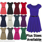LADIES GIRLS WOMENS CAP SLEEVE SKATER FLARED SWING DRESS WITH BELTED PLEATED