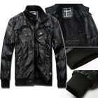 Mens Winter Casual Slim Fit Stand Collar Faux Leather Jacket Biker Outerwear TOP
