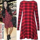 Plus Size Women Red Tartan Check Print Long Sleeve Swing Floaty Dress Top 16-20