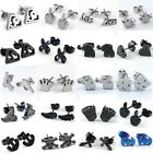 Punk Gothic Carved Stainless Steel Women's Men's Ear Studs Earring Jewelry Gift
