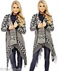 Womens Ladies Wrap Waterfall Aztec Tribal Cardigan Tassle Kimono Style SIZE 8-14