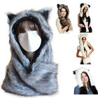 Women Fashion Fur hat winter animal cap Copy Rabbit Fur Cartoon cap Scarf UK Hot