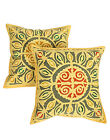 Geometric Cushion Cover Cotton Pillow Cases Applique Work Yellow Covers Square