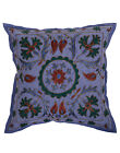 Embroidered Blue Floral Cushion Case Square Cushion Cover Cotton Pillow Cases