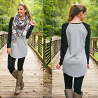 2015 Autumn T Shirt Women Lady Long Sleeve Contrast Slim Fitted T-Shirt Top