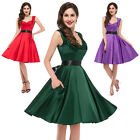 V-Neck 1950's Retro Vintage Party PICNIC Dresses Short Mini Prom Gown S M L XL