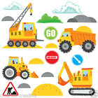 Childrens Construction Diggers Tractors Wall Stickers Decals Nursery Room Con7