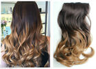 """Brown blonde 17"""" Full Head Thick One Piece Clip in Hair Extensions Ombre Gift"""