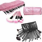 32pc Professional Cosmetic Make Up Set with Pouch Bag Case - Black Or Pink New