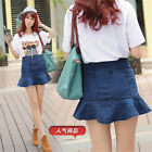 Women Fashion Sexy Slim High Waist Denim Jean Mini Short Fishtail Flounce Skirt
