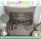 PERSONALISED CHRISTMAS AT FAMILY CUSHION CANVAS BEIGE MOM DAD NANNY GRANDAD GIFT