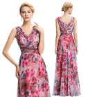 Ladies Maxi Long Womens Floral Holiday Maternity Evening Chiffon Dress Size 4-18