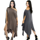 Women Slit Kimono Sleeve Irregular Hem Draped Baggy Poncho Loose Oversized Dress