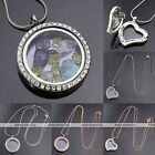 Living Memory Floating Charms Crystal Round Heart Glass Locket Pendant Necklace
