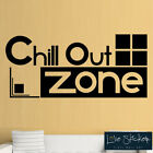 Chill Out Zone Cool Games Boys Bedroom Quote Wall Art Stickers Decals Vinyl Home