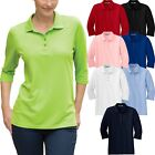 Ladies 3/4 Sleeve Polo Shirt Poly/Cotton Blend Easy Care S-XL 2XL, 3XL, 4XL NEW
