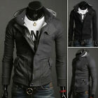 Men's Stylish Slim Fit Casual Hooded Coat Jacket Winter Outwear Black/Grey Tops