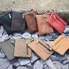 Mens Ladies Genuine REAL Leather Coin Purse Key Holder TWO Zips Colours