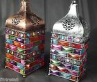 Moroccan Lantern Bejeweled Rustic Grey Metal and Bronze Metal Tealight Holder