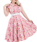 H and R London Pink Charlotte Floral Tea Dress Swing Retro Pin Up Vintage Style