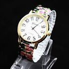 New Luxury Flower Design Alloy Stretch Band Quartz Girl Women Ladies Wrist Watch