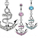 New Fashion Crystal Rhinestone Anchor Shape Barbell Navel Ring Piercing Jewelry