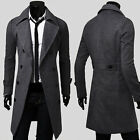 Fashion Double Breasted Coat Mens Peacoat Winter Jacket Formal Dress Jackets Top