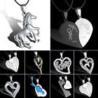 Unisex Womens Men's Horse Stainless Steel Pendant Necklace Leather Heart Love