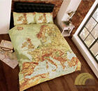 European Map Atlas Single Double King Size Duvet Cover Bed Set Bedding Bedlinen