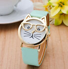 New Cat Design With Glasses Fashion Leather Luxury Lady Women Quartz Wrist Watch