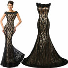 Black Lace Long Evening Formal Party Cocktail Bridesmaid Prom Gown Pageant Dress