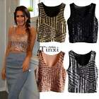 CASUAL WOMEN VEST TANK SEXY CROP TOP CLUBWEAR LOOSE BLOUSE TEE SEQUIN SLEEVELESS