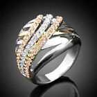 14K GP Gold & Silver 2-tone Finger Ring,Pave Swarovski Crystal Hollow Size 6-8
