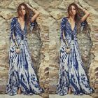 2016 Women Sexy Blue Striped Tie-dye Beach Deep V-neck Irregular Maxi Long Dress