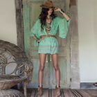 2016 Women Fashion Sexy Boho Printed Casual Loose Deep V-neck Hollow Out Dress