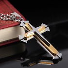 AgentX Mens Fashion Stainless Steel Silver Golden Cross Pendant Necklace + Bag