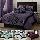 7-piece Flocked Floral Faux Silk Comforter Set or 4pcs Curta